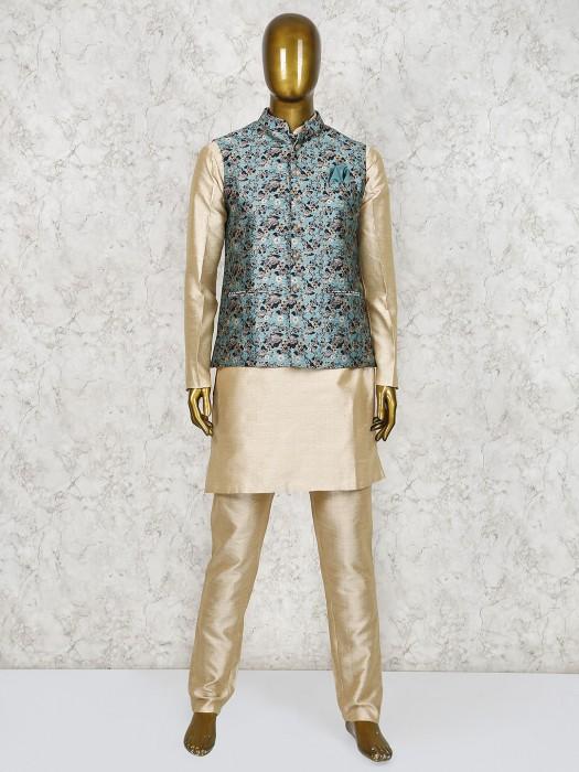 Aqua And Beige Raw Silk Waistcoat Set
