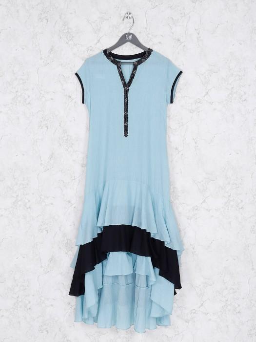 Aqua Color Cotton Casual Wear Kurti