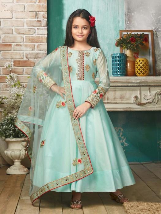 Aqua Color Cotton Silk Anarkali Suit For Party