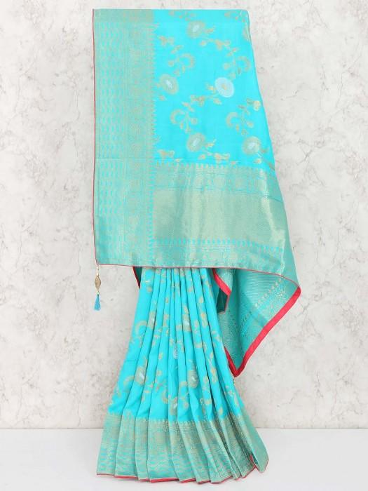 Aqua Color Saree In Muga Silk Fabric