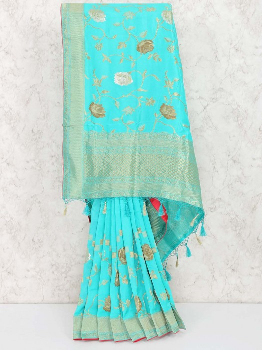 Aqua Colored Saree In Muga Silk
