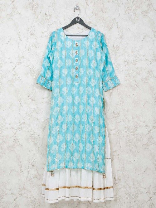 Aqua Cotton Printed Kurti In Double Layer Style