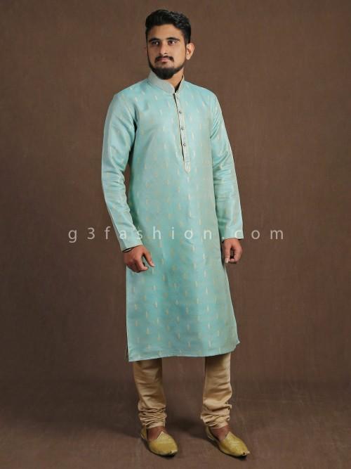 Aqua Cotton Silk Kurta Suit With Churidar