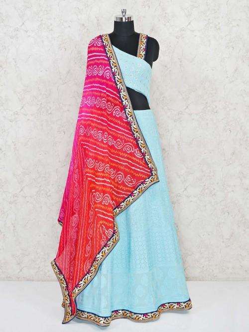 Aqua Geogette Lucknowi Semi Stitched Lehenga Choli
