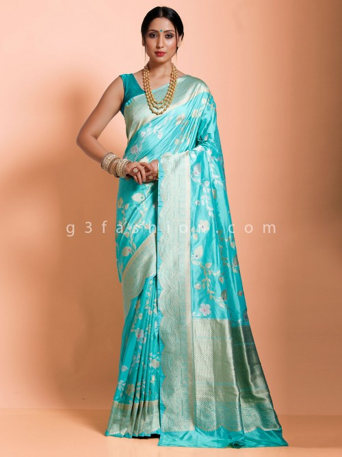 Aqua Green Banarasi Silk Saree With Silver Zari Pallu