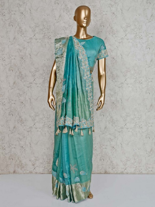 Aqua Green Embroidered Saree In Pure Silk With Ready Made Blouse