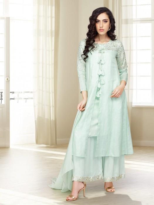 Aqua Green Jacket Style Punjabi Palazzo Suit