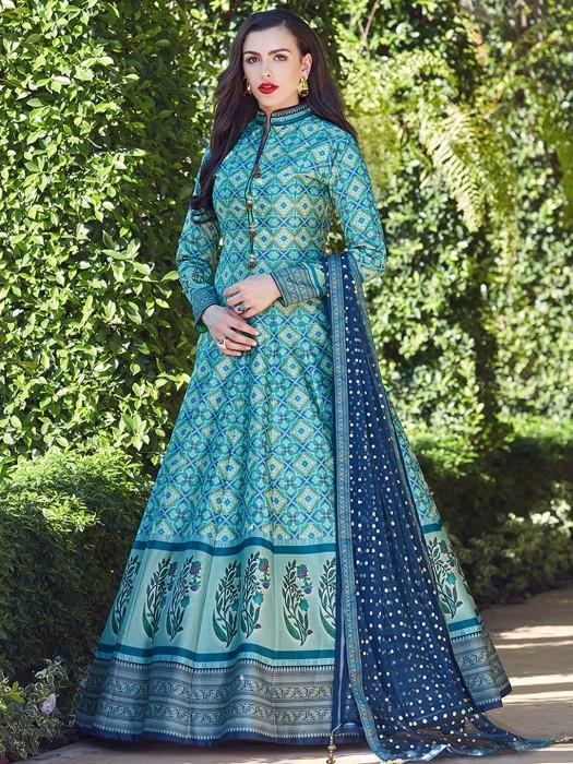 Aqua Hue Patola Silk Anarkali Suit