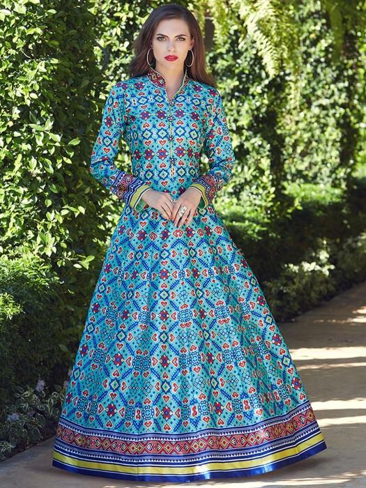 Aqua Hue Patola Silk Floor Length Anarkali Suit