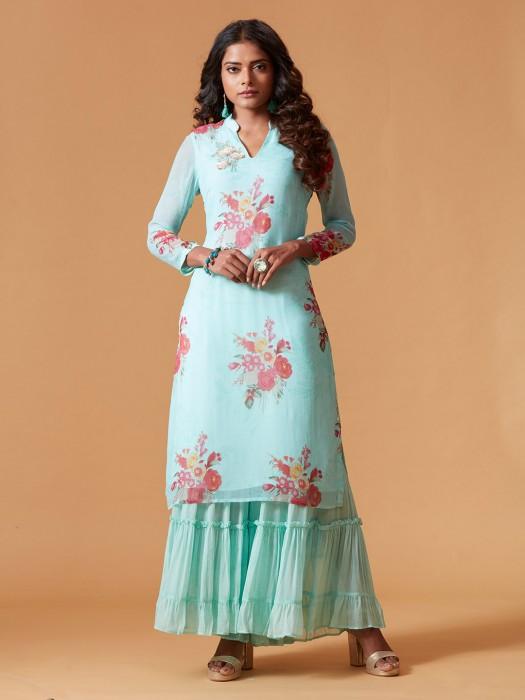 Aqua Hue Printed Georgette Punjabi Sharara Suit