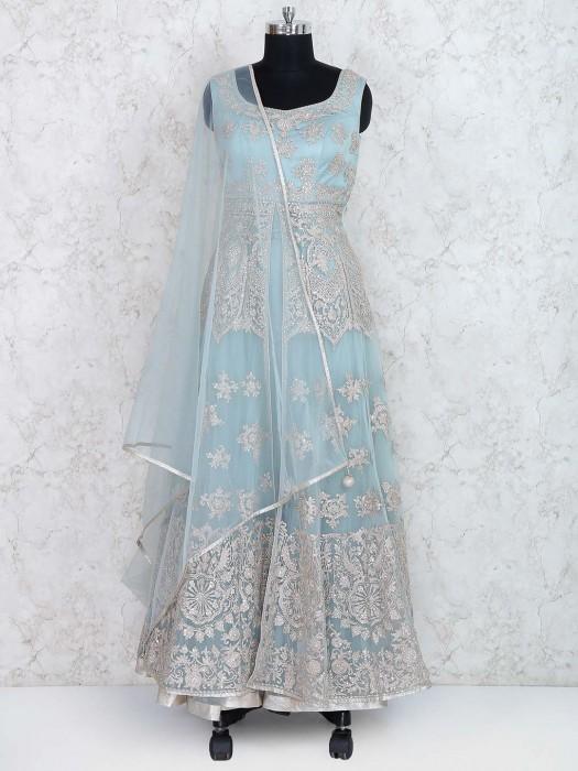 Aqua Hue Tissue Silk Floor Length Anarkali Suit
