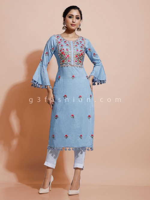 Light Blue Straight Cut Kurti For Festive With Thread Work