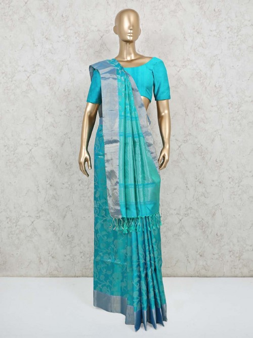 Aqua Thread Woven Pure Banarasi Silk Saree