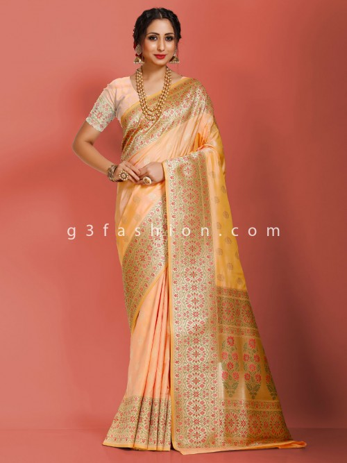 Art Banarasi Silk Peach Wedding Wear Exclusive Sari