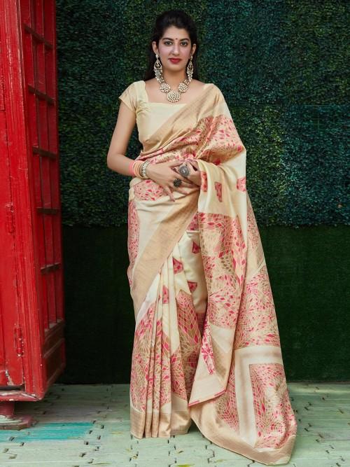 Attractive Cream Saree In Semi Silk