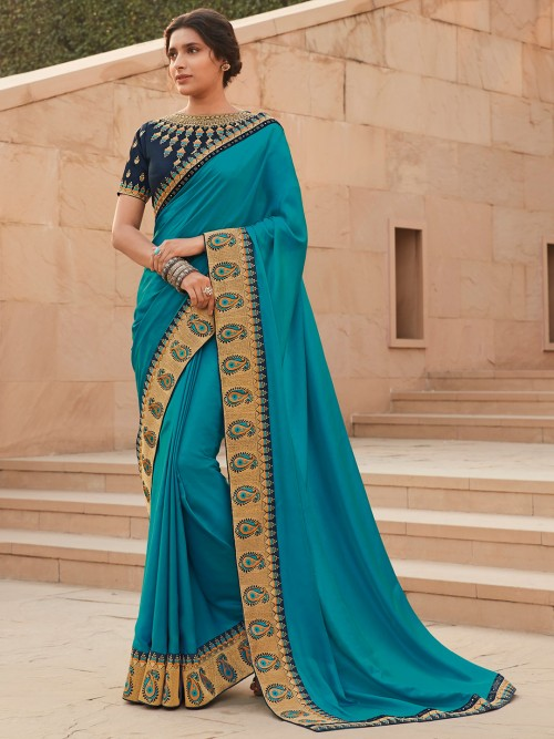 Auqa Blue Satin Saree Fro Winter Weddings