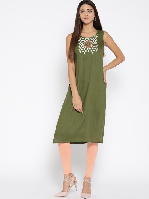 Aurelia Green Hue Casual Kurti In Cotton