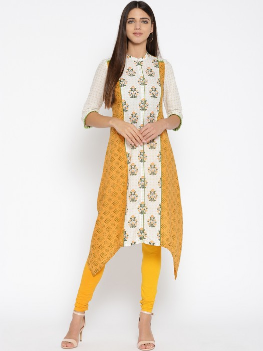 Aurelia Orange And White Hue Kurti In Cotton Fabric