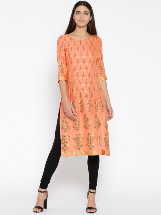 Aurelia Wonderful Orange Hue Cotton Kurti
