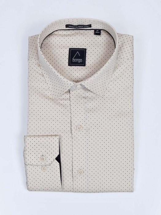 Avega Beige Color Polka Dot Printed Pattern Shirt