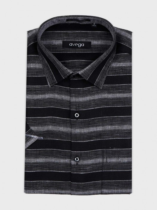 Avega Black Stripe Slim Fit Shirt