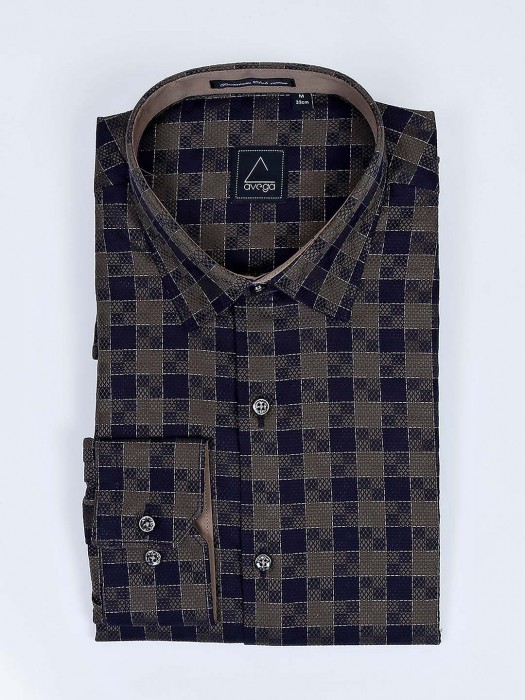 Avega Olive And Navy Checks Pattern Shirt