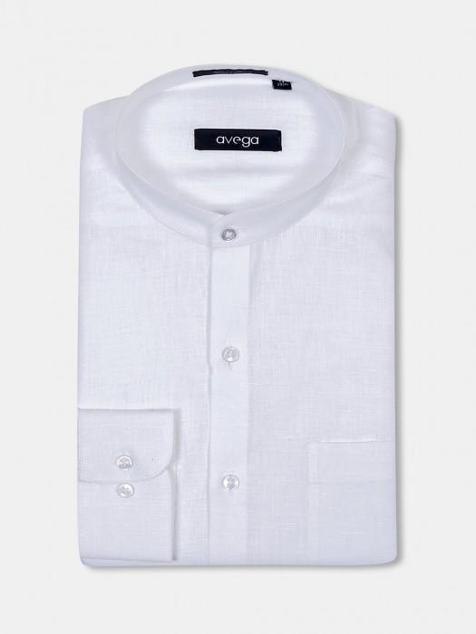 Avega Chinese Collar White Linen Shirt