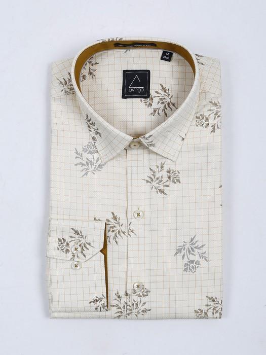 Avega Cream Checks With Printed Shirt