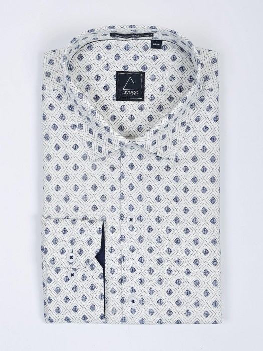 Avega Cream Printed Apple Cut Hem Shirt