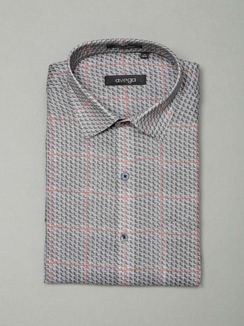 Avega Formal Wear Grey Checks Pattern Shirt
