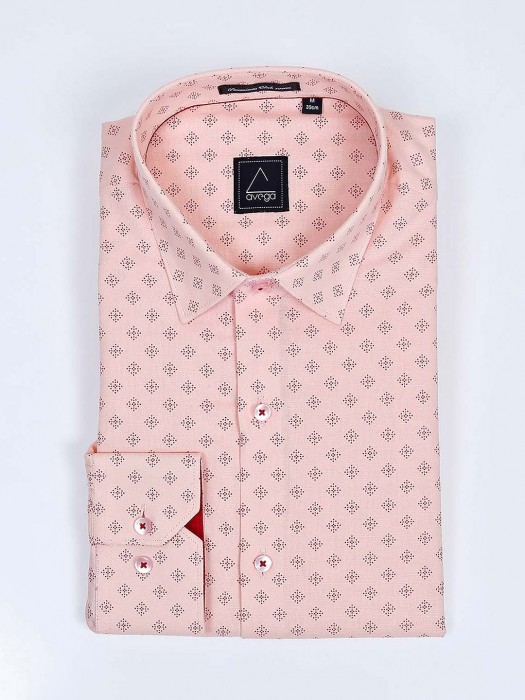 Avega Full Sleeves Peach Color Printed Shirt