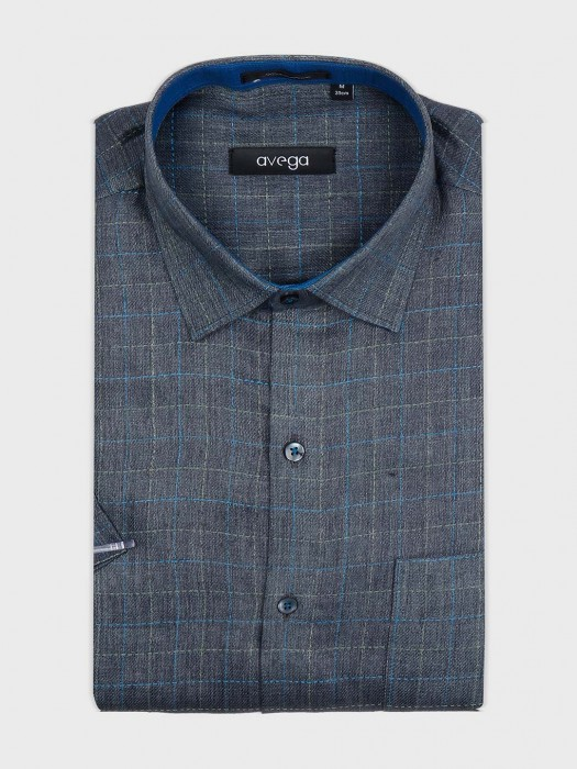 Avega Grey Color Checks Shirt