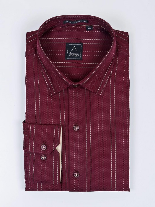 Avega Maroon Color Solid Zitter Pattern Shirt