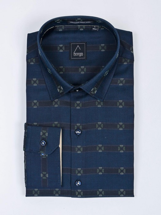 Avega Navy Color Zittet Pattern Shirt
