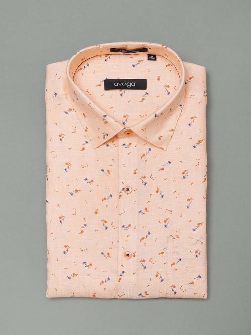 Avega Peach Printed Slim Fit Shirt
