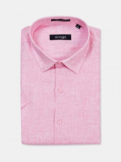 Avega Pink Solid Linen Cut Away Collar Shirt