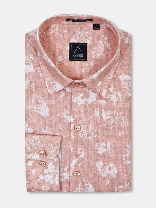 Avega Printed Peach Color Cut Away Collar Shirt