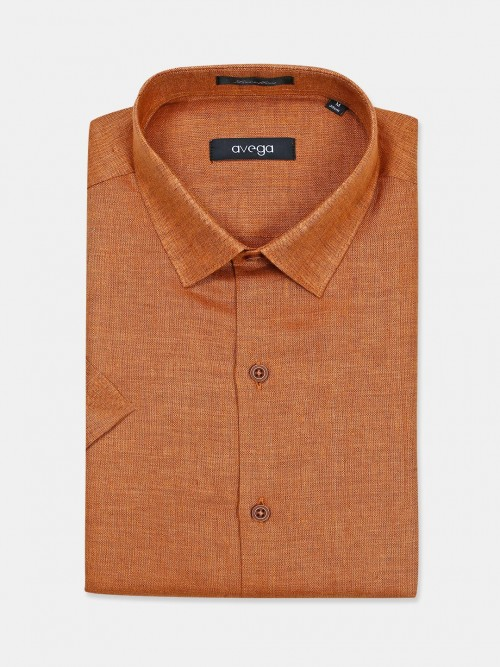 Avega Solid Orange Linen Shirt