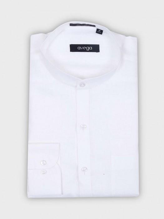 Avega Solid White Hue Chinese Collar Shirt