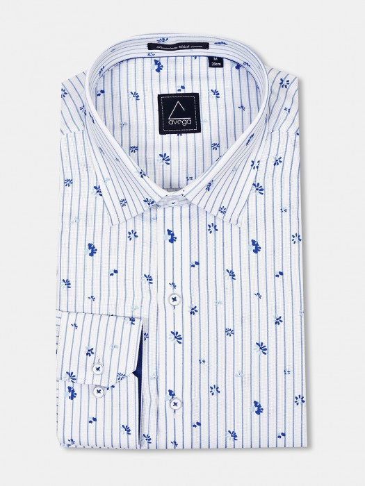 Avega White Stripe Pattern Cut Away Shirt