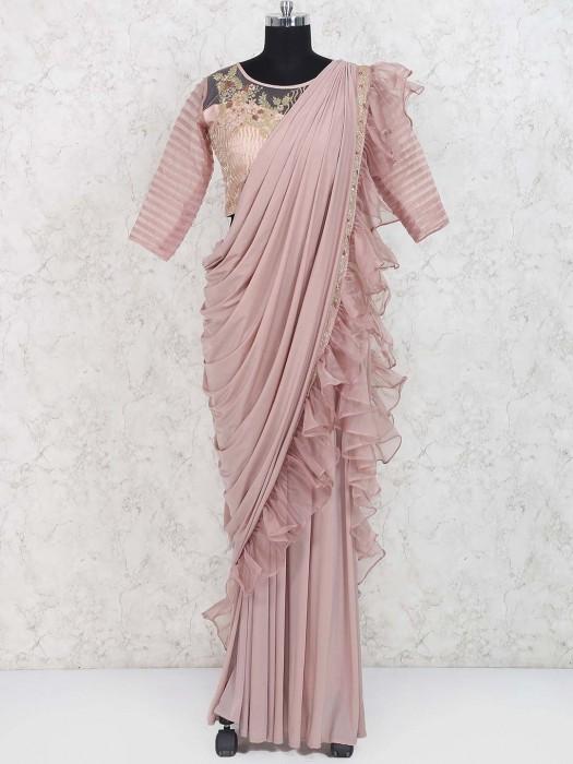 Baby Pink Designer Ready To Wear Saree In Georgette