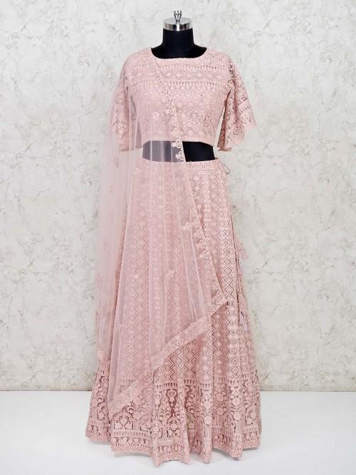 Baby Pink Georgette Wedding Lehenga Choli