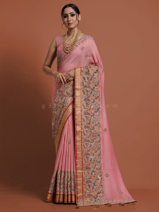 Baby Pink Munga Tussar Silk Saree In Traditional