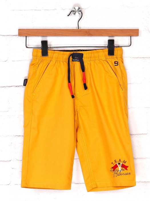Bad Boys Cotton Casual Short In Mustard Yellow