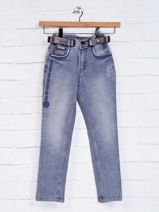 Bad Boys Grey Solid Elasticated Boys Jeans