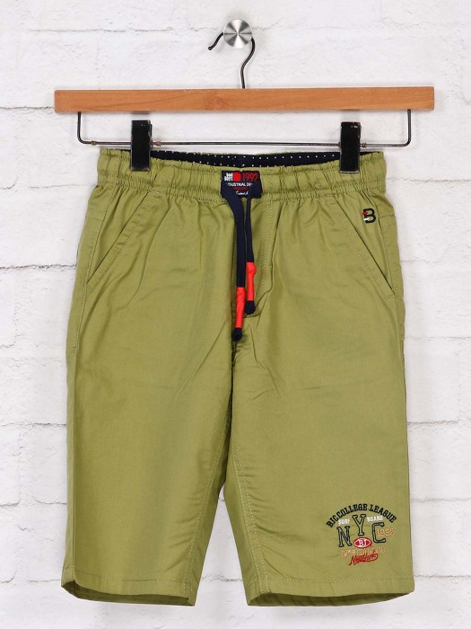 Bad Boys Solid Beige Cotton Short
