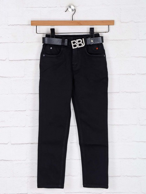 Bad Boys Solid Black Denim Jeans With Elastic