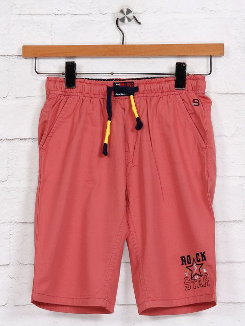 Bad Boys Solid Pink Short In Cotton