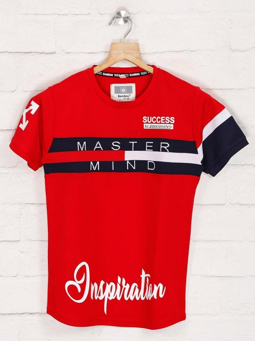 Bambini Red Printed Casual T-shirt