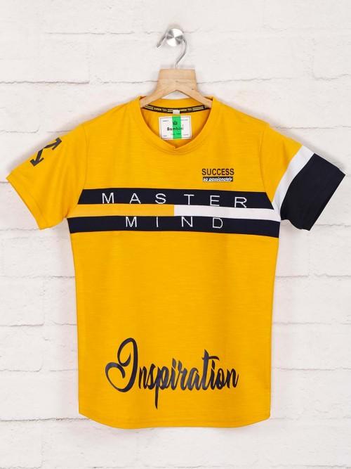 Bambini Yellow Printed T-shirt